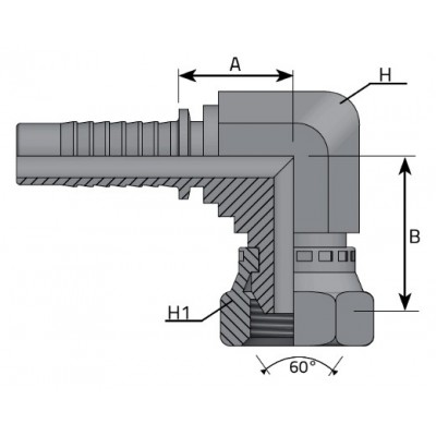 90º SWEPT ELBOW BSPP 60º -...