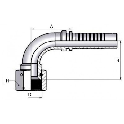 Codo Prensar Multiespiral JIC