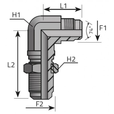 JIC 37º male bulkhead elbow