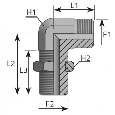 ORFS male bulkhead elbow